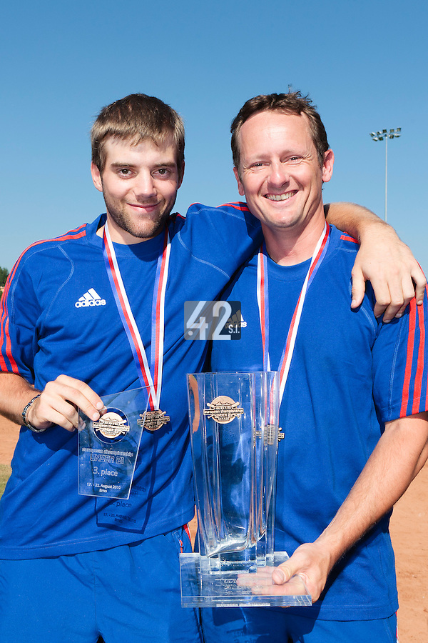 22 August 2010: Sebastien Duchossoy and Rodolphe Le Meur pose with the trophy at the 2010 European Championship, under 21, in Brno, Czech Republic.