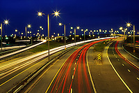 Canada, Ontario, Niagara Falls,  time exposure  of overview of highway traffic at night