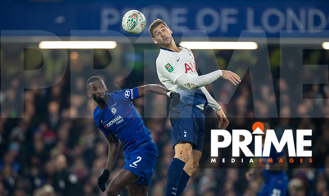 Fernando Llorente of Spurs & Antonio Rudiger of Chelsea during the Carabao Cup Semi-Final 2nd leg match between Chelsea and Tottenham Hotspur at Stamford Bridge, London, England on 24 January 2019. Photo by Andy Rowland.