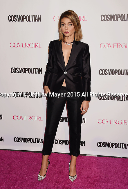 WEST HOLLYWOOD, CA - OCTOBER 12: Actress Sarah Hyland arrives at Cosmopolitan Magazine's 50th Birthday Celebration at Ysabel on October 12, 2015 in West Hollywood, California.