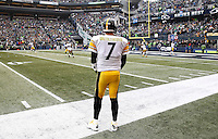 Ben Roethlisberger #7 of the Pittsburgh Steelers looks on during the opening kickoff against the Seattle Seahawks during the game at CenturyLink Field on November 29, 2015 in Seattle, Washington. (Photo by Jared Wickerham/DKPittsburghSports)