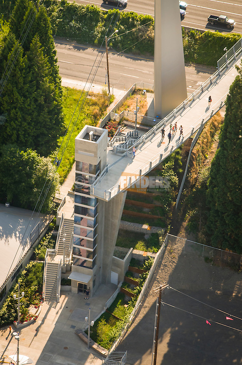 Aerial view of the Gibbs Pedestrian Bridge spanning Interstate 5 in southwest Portland, OR.
