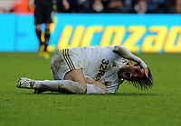 Saturday, 08 December 2012<br /> Pictured: Michu of Swansea tumbles on the ground after a Norwich player foul<br /> Re: Barclays Premier League, Swansea City FC v Norwich City at the Liberty Stadium, south Wales.