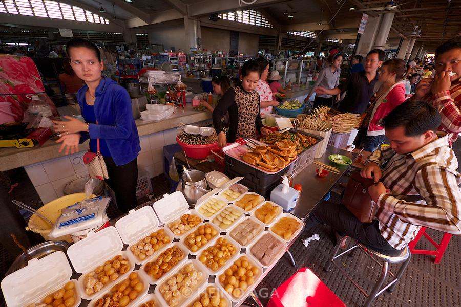 Phnom Penh, Cambodia. Central Market. Snacks.