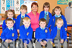 The Junior pupils who started in Asdee National School this week with their teacher Geraldine Galvin. Front l-r Liam O'Connor, Hamish O'Carroll, Brendan Keane and Molly O'Sullivan. Back l-r Sarah Spillane, Elaine Keane, Caoimhe Maloney and Leona Sheehy.   Copyright Kerry's Eye 2008