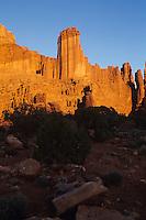 Sunset light on Fisher Towers, Utah   USA