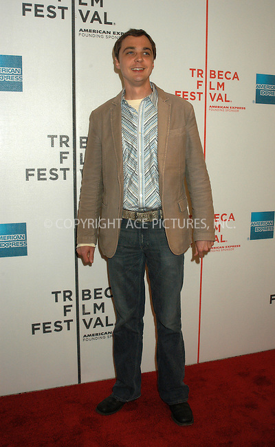 WWW.ACEPIXS.COM . . . . . ....NEW YORK, APRIL 22, 2005....Jim Parsons at the 'Great New Wonderful' premiere held at Stuyvesant High School as a part of the Tribeca Film Festival.....Please byline: KRISTIN CALLAHAN - ACE PICTURES.. . . . . . ..Ace Pictures, Inc:  ..Craig Ashby (212) 243-8787..e-mail: picturedesk@acepixs.com..web: http://www.acepixs.com