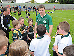 Irish international rugby stars Johnny Sexton, Brian O'Driscoll and Paul O'Connell pictured at Boyne RFC. Photo: Colin Bell/pressphotos.ie