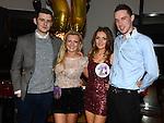 Jenny Sheard and Christina Mackin celebrating their 21st birthdays in Brú. with boyfriends Padraic Leddy and Peter McGuinness Photo: Colin Bell/pressphotos.ie