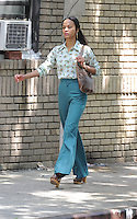 May 31 , 2012: Zoe Saldana on the set of Blood Ties in New York City. © mpi15/MediaPunch Inc.
