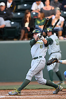Scott Heineman #6 of the Oregon Ducks bats against the UCLA Bruins at Jackie Robinson Stadium on April 6, 2012 in Los Angeles,California. Oregon defeated UCLA 8-3.(Larry Goren/Four Seam Images)