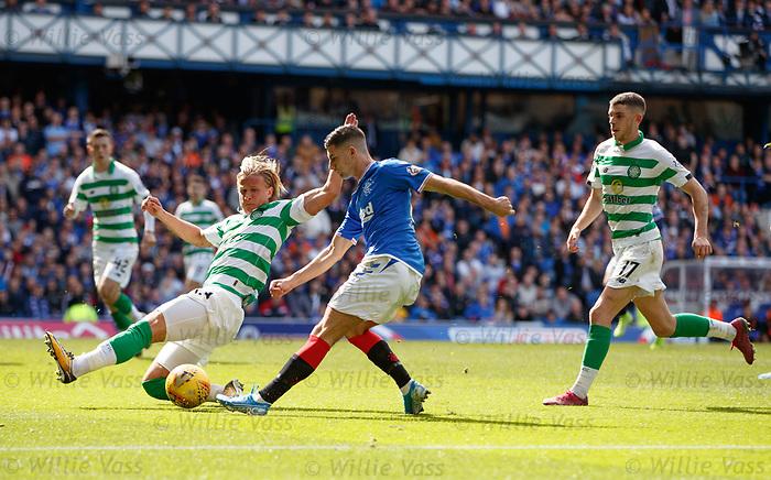 01.09.2019 Rangers v Celtic: Moritz Bauer and Jordan Jones