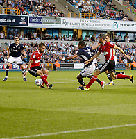 Millwall's James Meredith runs through on goal during the Sky Bet Championship match between Millwall and Ipswich Town at The Den, London, England on 15 August 2017. Photo by Carlton Myrie.