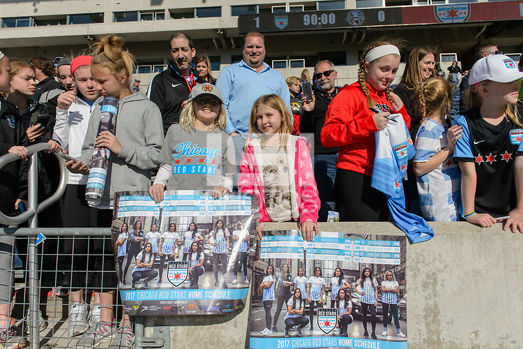 Bridgeview, IL - Saturday April 22, 2017: Fans after a regular season National Women's Soccer League (NWSL) match between the Chicago Red Stars and FC Kansas City at Toyota Park.