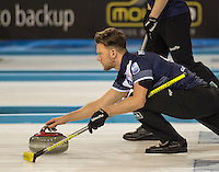 Glasgow. SCOTLAND.  Scotland's, Ross PATERSON, guiding his &quot;Stone towards the Hog Line, during a  &quot;Round Robin&quot; Game. Le Gruy&egrave;re European Curling Championships. 2016 Venue, Braehead  Scotland<br /> Tuesday  22/11/2016<br /> <br /> [Mandatory Credit; Peter Spurrier/Intersport-images]