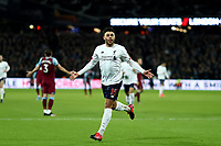 29th January 2020; London Stadium, London, England; English Premier League Football, West Ham United versus Liverpool; Alex Oxlade-Chamberlain of Liverpool celebrates after he scored for 0-2 in the 52nd minute