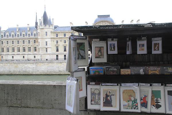Artwork sold along the Seine River, Paris, France.