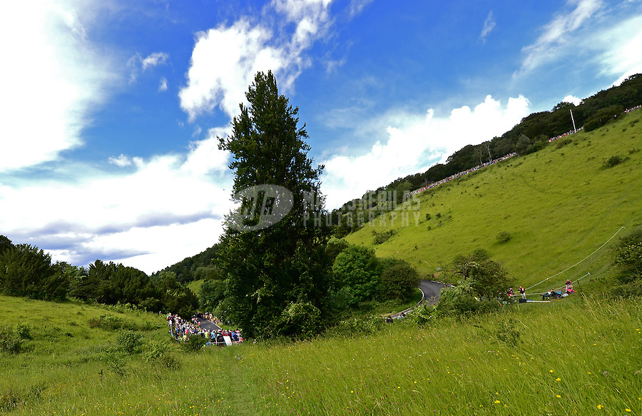 Jul 29, 2012; Dorking, United Kingdom; Overall view of Butterfly Bend on Box Hill during the women's cycling race. Mandatory Credit: Mark J. Rebilas-USA TODAY Sports