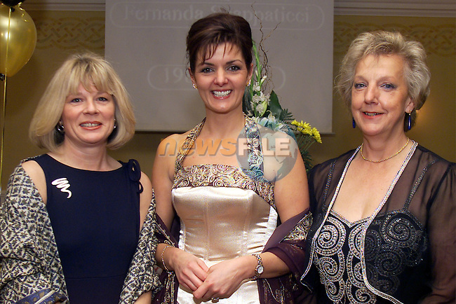 Kay Judd, CIBTAC manager, Fernanda Scappaticcoi and Jo Wackett, CIDESCO examiner pictured at the Fernanda Scappaticci College of Beauty graduation dance in the Westcourt Hotel..Picture: Arthur Carron/Newsfile