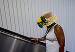 June 8, 2019 : A woman dresses up on Belmont Stakes Festival Saturday at Belmont Park in Elmont, New York. Scott Serio/Eclipse Sportswire/CSM