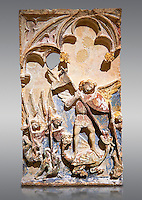Late 13th or 14th century Gothic Bas-relief depicting the miracle performed by St Michael at Mont St Michael. limestone with traces of polcrome from the Church of San Miguel de Canet lo Roig (Castello), by the Master of Sant Mateu. Inv MNAC 45846-45845. National Museum of Catalan Art (MNAC), Barcelona, Spain