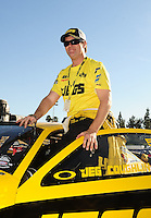 Nov 14, 2010; Pomona, CA, USA; NHRA pro stock driver Jeg Coughlin during the Auto Club Finals at Auto Club Raceway at Pomona. Mandatory Credit: Mark J. Rebilas-