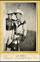 BNPS.co.uk (01202 558833)<br /> Pic: DominicWinter/BNPS<br /> <br /> King of the Cowboys Roy Rogers.<br /> <br /> A remarkable set of 430 candid photographs of Hollywood royalty have been unearthed after 50 years.<br /> <br /> Included in the collection of unpublished pictures are snaps of silver screen icons Paul Newman, Charlie Chaplin, Bette Davis, Audrey Hepburn, and Dean Martin.<br /> <br /> Paul Newman is captured looking over his shoulder at the wheel of his car and Charlie Chaplin is pictured without his trademark moustache. <br /> <br /> Audrey Hepburn has posed with her then husband actor Mel Ferrer while Bette Davis can be seen puffing on a cigarette.<br /> <br /> The snaps were taken by obsessive amateur photographer Dwight 'Dodo' Romero from 1954 to 1967 who would hang around at Hollywood parking lots and other hang-outs to catch a glimpse of the stars.<br /> <br /> The photos, which more recently belonged to a book dealership in York, have emerged for auction and are tipped to sell for &pound;800.