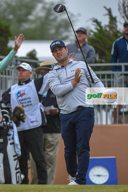 David Lingmerth (SWE) watches his tee shot on 10 during Round 3 of the Valero Texas Open, AT&T Oaks Course, TPC San Antonio, San Antonio, Texas, USA. 4/21/2018.<br /> Picture: Golffile | Ken Murray<br /> <br /> <br /> All photo usage must carry mandatory copyright credit (© Golffile | Ken Murray)