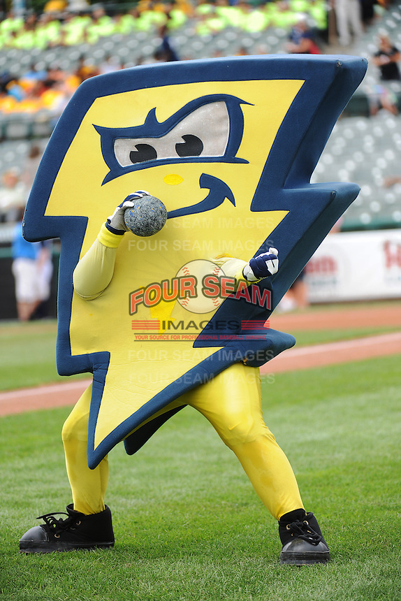 Trenton Thunder mascot Strike during game against the Altoona Curve at ARM & HAMMER Park on July 24, 2013 in Trenton, NJ.  Altoona defeated Trenton 4-2.  Tomasso DeRosa/Four Seam Images