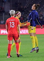 CARSON, CA - FEBRUARY 07: Stephanie Labbe #1, Kailen Sheridan #18 and Sophie Schmidt #13 and Canada celebrate their win over Costa Rica and book a trip to the 2020 Tokyo Olympics during a game between Canada and Costa Rica at Dignity Health Sports Park on February 07, 2020 in Carson, California.