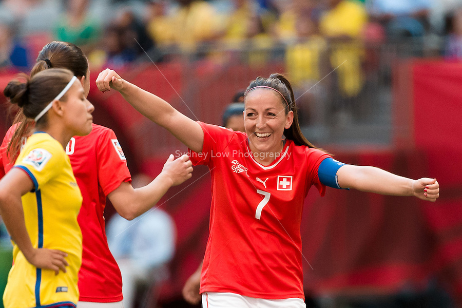 June 12, 2015: Martina MOSER of Switzerland celebrates her goal during a Group C match at the FIFA Women's World Cup Canada 2015 between Switzerland and Ecuador at BC Place Stadium on 12 June 2015 in Vancouver, Canada. Switzerland won 10-1. Sydney Low/AsteriskImages