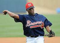 10 April 2008: Infielder Javier Guzman (13) of the Mississippi Braves, Class AA affiliate of the Atlanta Braves, in a game against the Mobile BayBears at Trustmark Park in Pearl, Miss. Photo by:  Tom Priddy/Four Seam Images