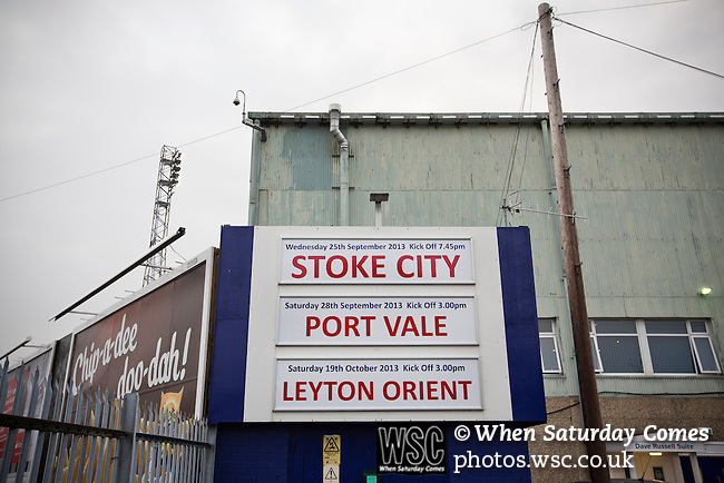 Tranmere Rovers 0 Stoke City 2, 25/09/2013. Prenton Park, Captial One Cup Third Round. A sign advertising forthcoming fixtures outside Prenton Park before Tranmere Rovers host Stoke City in a Capital One Cup third round match. The Capital One cup was formerly known as the League Cup and was competed for by all 92 English Premier League and Football League clubs. Visitors Stoke City won the match 2-0, watched by a crowd of 5,559 spectators. Photo by Colin McPherson.