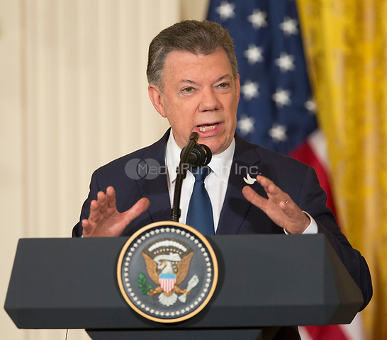 President Juan Manuel Santos of Colombia participates in a joint news conference with United States President Donald J. Trump at the White House in Washington, DC, May 18, 2017. <br /> Credit: Chris Kleponis / CNP /MediaPunch