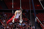 20 APR 2012: Dylan Akers of the University of Oklahoma competes in the rings competition during the Division I Men's Gymnastics Championship held at the Lloyd Noble Center on the University of Oklahoma campus in Norman, OK. The University of Oklahoma finished in second place with a score of 357.45. Stephen Pingry/NCAA Photos