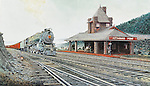 "A Pennsylvania Railroad K4 steam locomotive with a passenger train starts around Hoseshoe Curve at the Kittaning Point station on the PRR mainline above Altoona. Available as a 13.5"" x 23.5"" fine art limited edition lithograph, including Certificate of Authenticity."