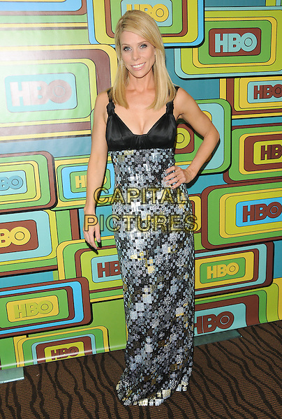 CHERYL HINES .The HBO's Post Golden Globes Party held at The Beverly Hilton Hotel in Beverly Hills, California, USA..January 16th, 2011.full length black dress silver shiny maxi hand on hip.CAP/RKE/DVS.©DVS/RockinExposures/Capital Pictures.