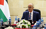 Palestinian Prime Minister Rami Hamdallah chairs a meeting with security chiefs in the West Bank city of Ramallah on December 12, 2018. Photo by Prime Minister Office