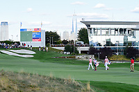 Dustin Johnson (USA) and Brooks Koepka (USA) make their way down 14 during round 2 Four-Ball of the 2017 President's Cup, Liberty National Golf Club, Jersey City, New Jersey, USA. 9/29/2017.<br /> Picture: Golffile | Ken Murray<br /> <br /> All photo usage must carry mandatory copyright credit (&copy; Golffile | Ken Murray)