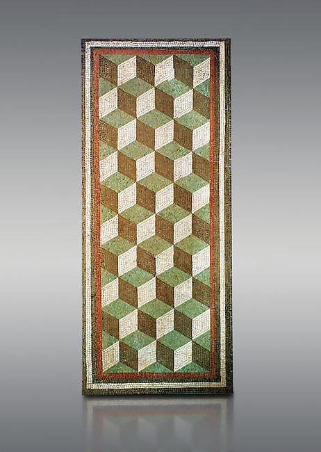 Roman geometric floor mosaic with diminutional cube designs, from a Roman villa near Casale de S.Basilio near Via Nomentana, Rome. 1st century BC. National Roman Museum, Rome, Italy