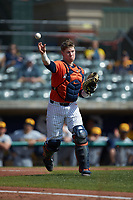 Illinois Fighting Illini catcher Jacob Campbell (9) makes a throw to first base against the West Virginia Mountaineers at TicketReturn.com Field at Pelicans Ballpark on February 23, 2020 in Myrtle Beach, South Carolina. The Fighting Illini defeated the Mountaineers 2-1.  (Brian Westerholt/Four Seam Images)