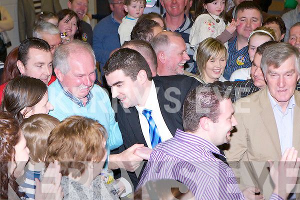 Fine Gael's Brendan Griffin celebrates with his family and supporters after he was elected on the fifth count at the Killarney South count in the Killarney Sports Centre on Saturday..