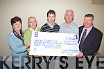Presenting a cheque to local charities was Tony Noonan(2nd from right) from Templeglantine who's annual christmas lights raised over ?14,000. Pictured here last Monday was l-r: Nora O'Connor(Foynes Brothers of Charity), Brendan McGrath(Millford Hospice), Mike Sheahan(Newcastlewest Brothers of Charity), Tony Noonan and Shane Enright(Adare Alzheimer's Society).