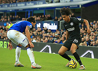 11th January 2020; Goodison Park, Liverpool, Merseyside, England; English Premier League Football, Everton versus Brighton and Hove Albion; Solly March of Brighton and Hove Albion takes on Theo Walcott of Everton - Strictly Editorial Use Only. No use with unauthorized audio, video, data, fixture lists, club/league logos or 'live' services. Online in-match use limited to 120 images, no video emulation. No use in betting, games or single club/league/player publications