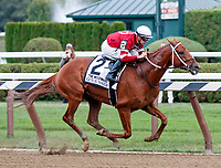 Gun Runner (no. 2) wins the Grade 1 Woodward Stakes September 2 at Saratoga Race Course, Saratoga Springs, NY, completing the Whitney/Woodward double.  The winner, ridden by  Florent Geroux and trained by  Steven Asmussen,  was clear through the stretch  and won by ten lengths in the mile and 1/8th race against four opponents.  (Bruce Dudek/Eclipse Sportswire)