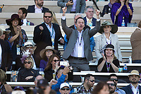 DEL MAR, CA - NOVEMBER 04: Fans cheer as Bar of Gold #5, ridden by Irad Ortiz Jr., comes across the winning line on Day 2 of the 2017 Breeders' Cup World Championships at Del Mar Thoroughbred Club on November 4, 2017 in Del Mar, California. (Photo by Alex Evers/Eclipse Sportswire/Breeders Cup)