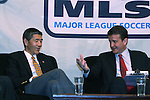 17 November 2007: DC United broadcaster Dave Johnson (r) with DC United co-managing partner William H.C. Chang (l). The Screaming Eagles, a DC United fan group, hosted the 2007 Supporters Summit, held at Babylon Futbol Club in Falls Church, Virginia one day before MLS Cup 2007, Major League Soccer's championship game.