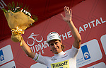 World Champion Peter Sagan (SVK) Tinkoff-Saxo wears the young rider's White Jersey on the podium at the end of Stage 2, The Capital Stage, of the 2015 Abu Dhabi Tour running 129 km from Yas Marina Circuit to Yas Mall, Abu Dhabi. 9th October 2015.<br /> Picture: ANSA/Claudio Peri | Newsfile