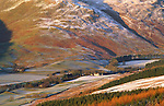 U shaped valley Moffat Dale looking down to Bodesbeck sitting on the valley floor winter snow near Moffat Scotland UK