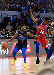 Dennis Smith Jr of Dallas Mavericks (L) in action against Markelle Fultz of 76ers (R) during the NBA China Games 2018 match between Dallas Mavericks and Philadelphia 76ers at Universiade Center on October 08 2018 in Shenzhen, China. Photo by Marcio Rodrigo Machado / Power Sport Images